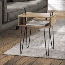 Table d'appoint 40x34x52 cm en manguier massif et acier