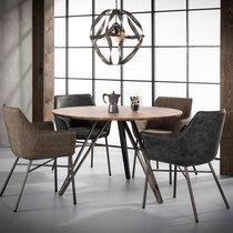 Table à manger ronde 120x120x76 cm avec décor chêne brun