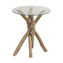 Table d'appoint ronde 50x50x58 cm en bois flotté naturel - GOA