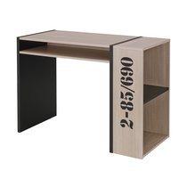 Bureau avec 1 tablette coulissante 108x51x75 cm naturel et noir
