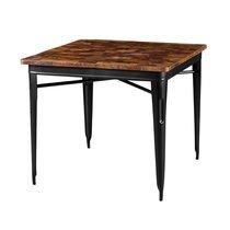Table carrée 90 cm en bois recyclé et métal noir - ARTY