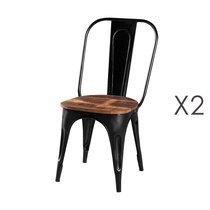 Lot de 2 chaises en bois recyclé et métal noir - ARTY