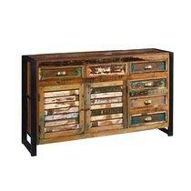 Buffet 2 portes et 6 tiroirs en bois recyclé et métal