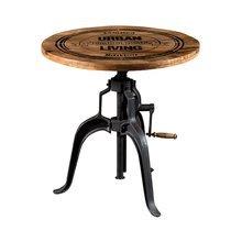 Table ronde 75x78 cm en bois et métal noir