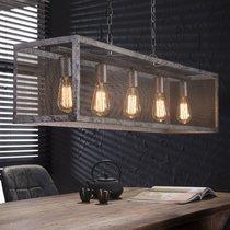 Suspension industrielle 5 ampoules avec abat-jour grille argent