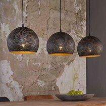 Suspension industrielle 3 lampes rondes 25 cm en métal noir