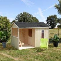 Maison de jardin avec tonnelle 2,42x1,43x1,6 m en pin