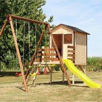 Aire de jeux 5,25 m en bois avec 1 tour + toboggan et 3 agrès