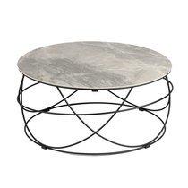 Table basse ronde 85 cm avec plateau en céramique grise