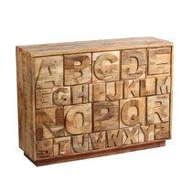 Buffet 26 tiroirs 100x40x80 cm en bois massif décor alphabet