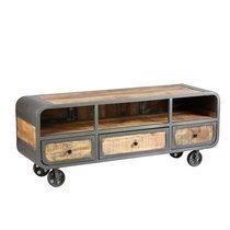 Meuble TV sur roulettes en bois naturel et métal gris - NEVADA