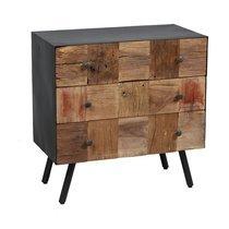 Commode 3 tiroirs en bois et métal gris - HOUSTON