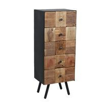 Chiffonnier 5 tiroirs en bois et métal gris - HOUSTON