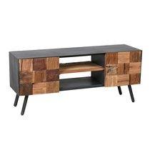 Meuble TV 2 portes et 2 niches en bois et métal gris - HOUSTON