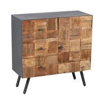 Buffet 1 porte et 3 tiroirs en bois et métal gris - HOUSTON