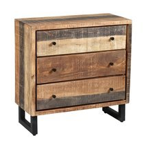 Commode 3 tiroirs en bois et métal noir - FRISCO