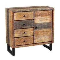 Buffet 1 porte et 4 tiroirs en bois et métal noir - FRISCO