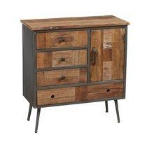 Buffet 1 porte et 4 tiroirs en bois et métal gris - OAKLAND