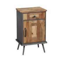 Chevet 1 porte et 1 tiroir en bois et métal gris - OAKLAND