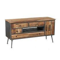 Meuble TV 1 porte et 4 tiroirs en bois et métal gris - OAKLAND