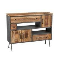 Buffet 3 portes et 3 tiroirs en bois et métal gris - OAKLAND