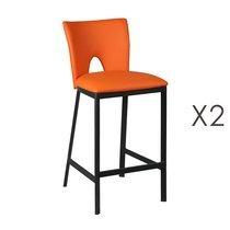Lot de 2 tabourets de bar orange H67 cm - LOUCAS