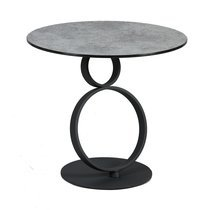 Guéridon ronde 60 cm en verre trempé aspect céramique et acier