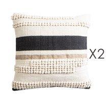 Lot de 2 coussins 45x45 cm en coton écru avec motifs