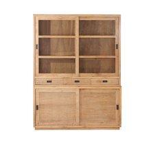 Buffet vaisselier 4 portes et 3 tiroirs en teck naturel - JEPARA
