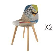 Lot de 2 chaises repas en patchwork multicolore
