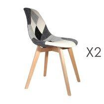 Lot de 2 chaises repas en tissu patchwork gris