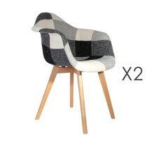 Lot de 2 fauteuils en tissu patchwork gris