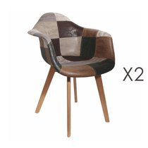 Lot de 2 fauteuils en tissu patchwork marron
