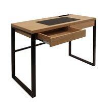 Bureau 1 tiroir 100x50x74 cm en bois et métal noir