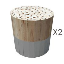 Lot de 2 tabourets ronds en bois naturel et gris