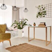 Console 100x32x87 cm en verre et bois naturel