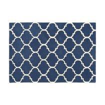 Tapis 120x170 cm en velours bleu foncé - HAKIN