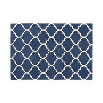Tapis 160x230 cm en velours bleu foncé - HAKIN