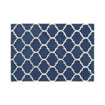 Tapis 200x290 cm en velours bleu foncé - HAKIN