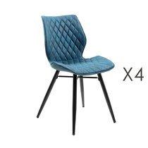 Lot de 4 chaises repas en tissu bleu - LAURA