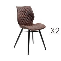 Lot de 2 chaises repas en tissu marron - LAURA