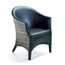 Fauteuil 64x65x84 cm noir avec tissage gris - TRAX