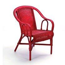 Fauteuil crapaud 57x62x84 cm en rotin rouge - MORITZ
