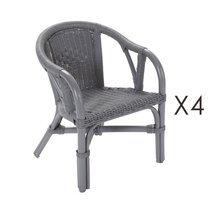 Lot de 4 fauteuils enfant en rotin gris - STARK