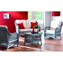 Ensemble canapé + 2 fauteuils + table basse en rotin gris