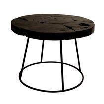 Table basse ronde 60x43 cm en teck et fer noir