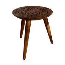 Table d'appoint ronde 35x37 cm en bois marron