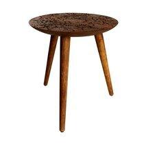 Table d'appoint ronde 40x45cm en bois marron