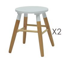 Lot de 2 tabourets 36,5x36,5x43 cm blanc et naturel