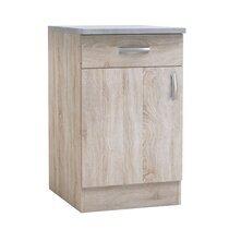 Meuble bas 1 porte et 1 tiroir 50x60x85 cm chêne et gris - LEWIS